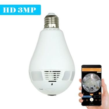 $6 OFF 3MP HD Wireless Wifi VR Light Bulb IP Camera,free shipping $41.99(Code:SLBIC6)