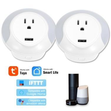 Amazon AlexaおよびGoogle Home IFTTT、2パックと互換性のあるミニスマートWiFiソケット