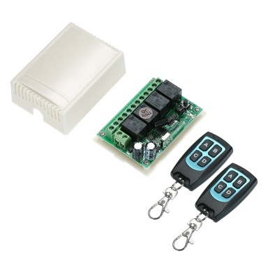 DC 12V 4CH Channel 433Mhz Wireless RF Switch Long Range Wireless Remote Control Switch DC12V RF Relay Receiver Module Transmitter Toggle Switch 1527 Chip Smart Home Automation (2 Transmitter & 1 Receiver)