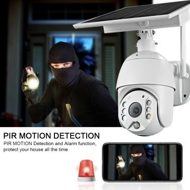 DC06 (WiFi) 1080P Intelligente solarbetriebene Pan-Tilt-Kamera Wireless Minitor Plug-in Kostenlos IP67 Nachtsicht-Echtzeit-Sprach-Intercom-Bewegungserkennungsalarm
