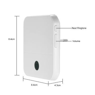 Smart HD 1080 P Drahtlose Video-Gegensprechanlage WI-FI Video-Türsprechanlage Visuelle Türklingel WIFI-Türklingel-Kamera für Wohnungen IR-Alarm Drahtlose Überwachungskamera mit 2 Plug-in-Glockenspielen Silber