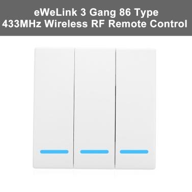 eWeLinkプッシュボタンウォールライトスイッチリモートコントローラ3ギャング86タイプオン/オフスイッチパネル433MHzワイヤレスrfリモートコントロールトランスミッタ付きステッカー自由な位置柔軟なホームリビングルームの寝室