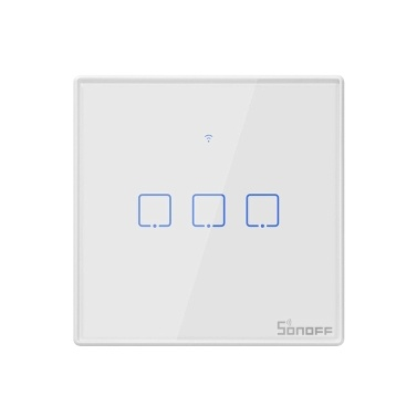 SONOFF T2EU3C-TX 3 Gang Smart WiFi Wall Light Switch 433Mhz RF Remote Control APP/Touch Control Timer EU Standard Panel Smart Switch Compatible Google Home/Nest & Alexa