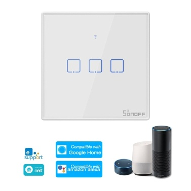 SONOFF T2UK3C-TX 3 Gang Smart WiFi Wall Light Switch 433Mhz RF Remote Control APP/Touch Control Timer UK Standard Panel Smart Switch Compatible Google Home/Nest & Alexa