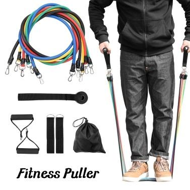 11pcs Fitness Puller Set Upgraded Resistance Belt Multifunctional Exercise Elastics Tubes for Training Gym Bodybuilding Sport Workout