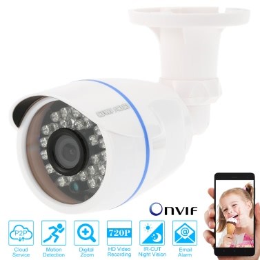 OWSOO® HD 720P Megapixels IP Cloud Camera CCTV Surveillance Security  Network Outdoor Indoor Bullet Camera support P2P Android/iOS APP Onvif