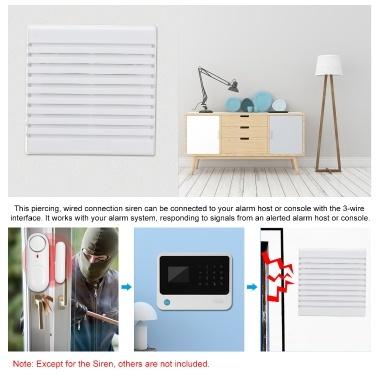 Externe kabelgebundene Sirene 105 dB Sofortiger Alarm Zweifarbige Innensirene für Alarmanlage für das Haus