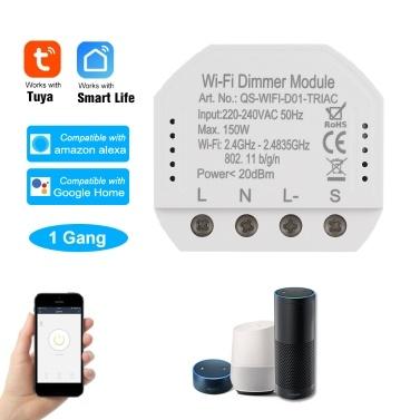 1CH DIY Mini WiFi Dimmer Module Smart Light Dimmer Breaker Controller Switch Module Smart Life Tuya APP Telecomando Compatibile con Alexa Google Home Voice Control