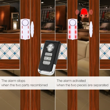 Wireless Light & Sound Vibration Magnetic Sensor Remote Door Window Detector Security Home Alarm