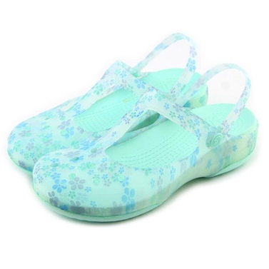 Summer Cool Beach Holes Printing Flowers Shoes Antiskid Causal Women Plastic Jelly Sandals Hollow Walking Slipper Breathable Girls Backstrap