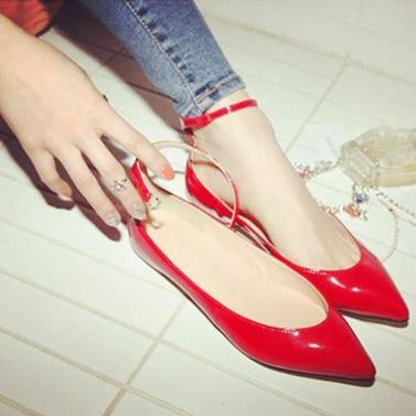 Neu Mode Frauen flache Schuhe Spitzer Toe Pin Buckle Volltonfarbe Wohnungen Punkt Sommerschuhe