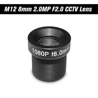 "HD 2.0 Megapixel 2MP 8mm M12 CCTV-Brettobjektiv IP-Kameraobjektiv F2.0 Feste Iris M12 * P0.5 1 / 2.7 ""Bildformat 25 ° Betrachtungswinkel"