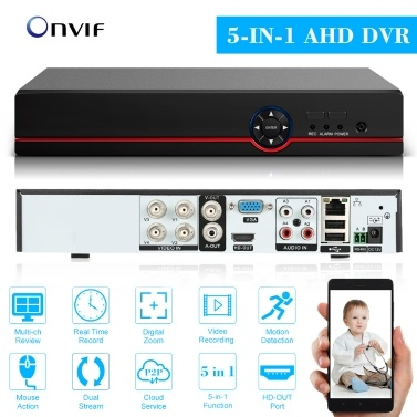 4CH 1080P Full High Definition Hybrid AHD/ONVIF IP/Analog/TVI/CVI/ DVR CCTV Digital Video Recorder DVR P2P Remote Phone Monitoring for Home office Security Surveillance System kit Camera (NO HDD) AU Plug