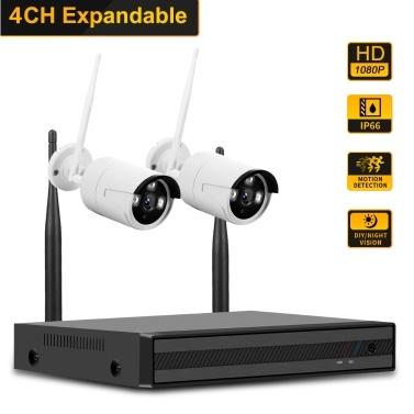 4CH NVR + 2 pcs1080P Kamera Kit Nachtsicht IP Kamera Sicherheits- und Überwachungssystem Unterstützung Fernbedienung AU Stecker
