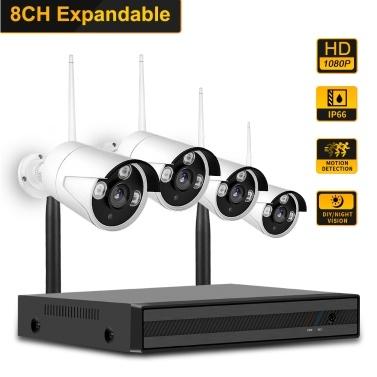 8CH NVR + 4 pcs1080P Kameras Kit Nachtsicht IP Kamera Sicherheits- und Überwachungssystem Unterstützung Fernbedienung EU Stecker