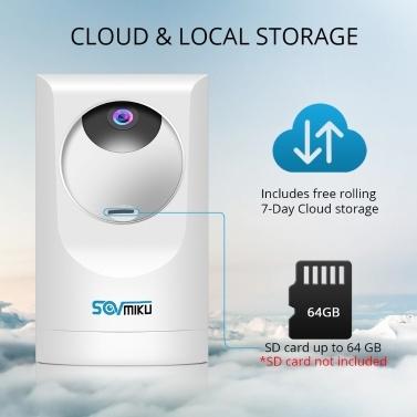 1080P Drahtlose Überwachungskamera WiFi IP-Innenkamera Babyphone 355 ° Panorama-Anzeige Unterstützung Nachtsicht-Bewegungserkennung Zwei-Wege-Audio