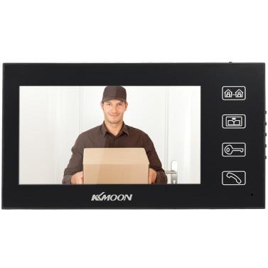 KKmoon  7u2019u2019 LCD Color Video Door Phone Intercom Doorbell Unlock Monitor Night Vision Rainproof IR Camera Home Surveillance