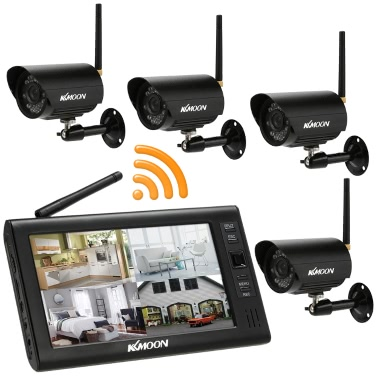 """KKmoon 2.4GHz Wireless 4CH DVR Kit 7"""" TFT Motion Detection IR Night Vision Support 32G Micro SD Card Waterproof Home Security"""