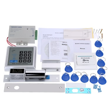 Access Control Management System Kit Password Host Controller + Magnetic Induction Electric Lock + Door Switch + Power Supply + 10pcs ID Key Fobs