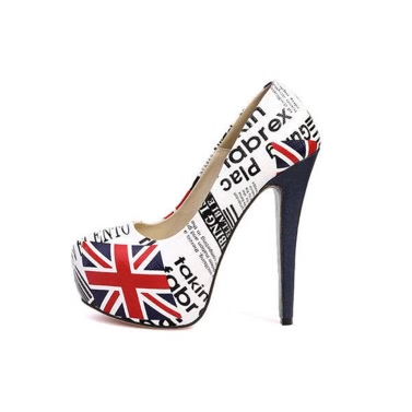 Buy Sexy New Women Pumps Flag Print PU Leather Concealed Platform Stiletto High Heels White
