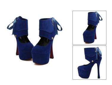 Women Sexy High Heels Platform Sole Ribbon Shoes Pumps Black