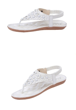 Fashion Summer Women PU Sandals Floral Toe-post Shoes Slingback Flats White