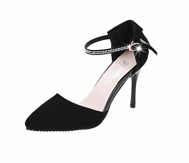 Fashion Women Summer Heels Pointed Toe Low Vamp Flat Sole Shoes Sandals Black