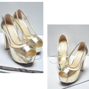 Fashion Women Summer High Heels Peep Toe Platform Sole Thin Shoes Pumps Golden