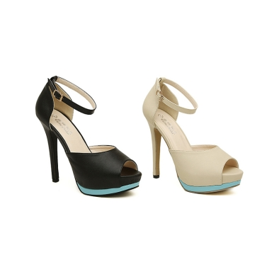 Fashion Women High Heels Ankle Strap Peep Toe Platform Sole Shoes Stilettos Pumps Black