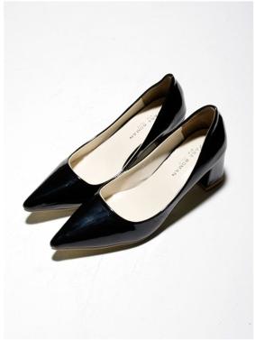 Sexy Mode Frauen Heels Low-Cut Vamp Pointed Toe PU Leder Schuhe schwarz