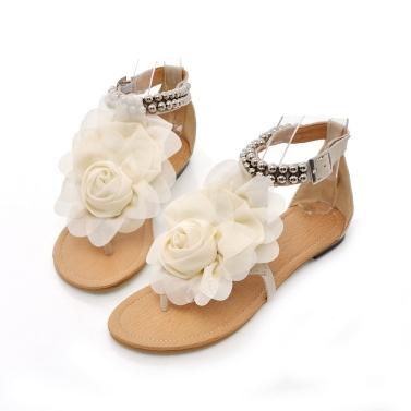 Neue Sommer Frauen Girls Wohnungen Toe-Post Perlen Blume Flip-flop Sandalen Schuhe Beige