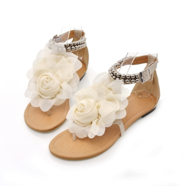 Buy Summer Women Girls Flats Toe-post Beaded Flower Flip-flop Sandals Shoes Beige