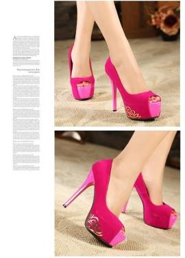 New Women Pumps Peep Toe Platform Sole Low Vamp High Heels Stiletto Black