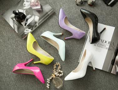 Buy Fashion Women Pumps Patent Leather Candy Color Pointed Toe High Heels Simple Shoes