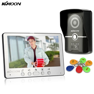 KKmoon 7u201d Wired Door Phone System Visual Intercom Doorbell 1*800x480 Indoor Monitor + 1*700TVL Outdoor Camera + 6*RFID Card support ID Card Unlock Infrared Night View Rainproof Lock Time Delay Adjustable View Angels Home Surveillance