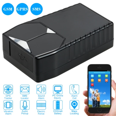 Mini GSM GRRS SMS GPS Tracker Locator Tracking Device 850/900/1800/1900MHz support Phone APP Control PC Online Inquiry Vibration Alarm Sound Alarm Audio Pickup Battery Level Inquiry Electric Fence 3300mah Battery
