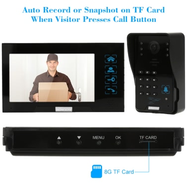 KKmoonu00ae 7u201d Wired Video Door Phone System Record/Snapshot Visual Intercom Doorbell 1*800x480 Indoor Monitor + 1*1000TVL Outdoor Camera + 8G TF Card support Touch Button Unlock Infrared Night View Rainproof Lock Time Delay Adjustable Angles Door Entry Access Control System