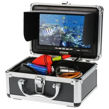 KKmoonu00ae 1200TVL Record Snapshot Underwater Fish Finder Kit 7u201d LCD Monitor + 50M Camera + 4G SD Card + 4500mah Battery + Portable Alloy Case support Waterproof Night View Plug Play Ice/Sea/River Fishing