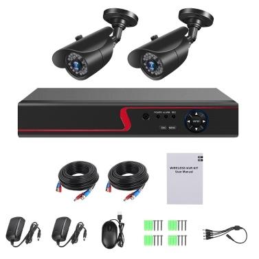 4-Kanal-Digital-Videorecorder + 2 Stück 1080P-Kameras mit integriertem Sicherheitssystem und Überwachungssystem 36 Stück IR-LED-Leuchten