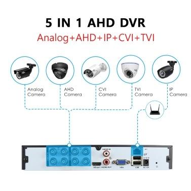 8-Kanal-CCTV-DVR-AHD-CVI-TVI-CVBS-IP-5-in-1-DVR-Rekorder für das CCTV-VGA-HDMI-Sicherheitssystem