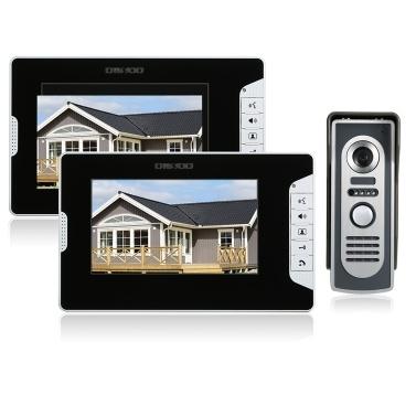 OWSOO 7 Inch Video Door Phone Doorbell Intercom Kit 2 Indoor Monitor 1 Outdoor Camera Night Vision Hands-free Call Electric Lock-control Home Security