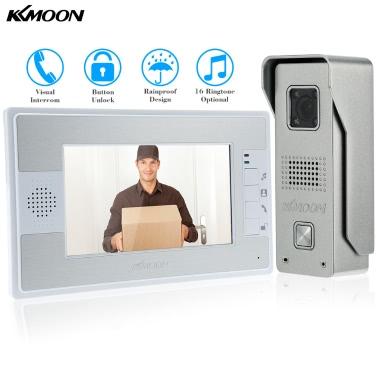 KKmoon  7u2019u2019Color TFT LCD Video Door Phone Intercom Doorbell Unlock Monitor Rainproof Night Vision IR CCTV Camera Home Security