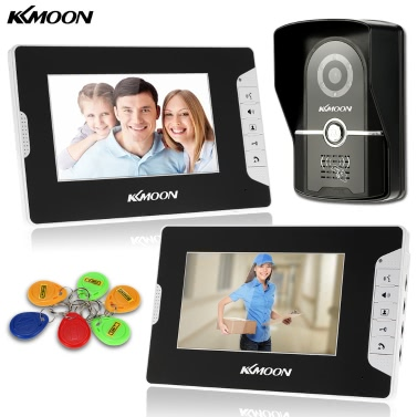 KKmoon 7u201d Wired Video Door Phone System Visual Intercom Doorbell 2*800x480 Indoor Monitor + 1*700TVL Outdoor Camera + 6*RFID Card support ID Card Unlock Infrared Night View Rainproof Lock Time Delay Adjustable View Angels Home Surveillance