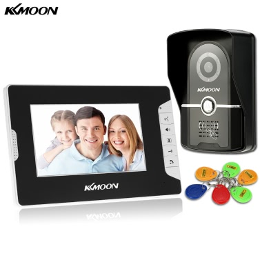 KKmoon 7u201d Wired Video Door Phone System Visual Intercom Doorbell 1*800x480 Indoor Monitor + 1*700TVL Outdoor Camera + 6*RFID Card support ID Card Unlock Infrared Night View Rainproof Lock Time Delay Adjustable View Angels Home Surveillance