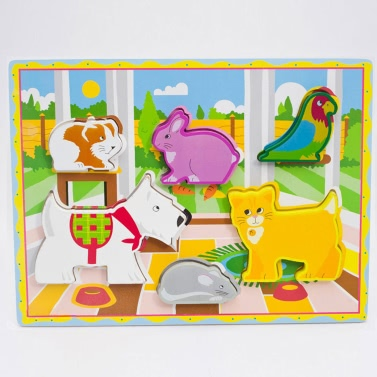 Wooden Pet Peg Puzzle Board Hand Knob Peg Puzzle Wooden Chunky Puzzle Early Educational Develoment Toys Kids