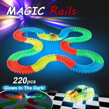 220PCS 55mm Twisted Tracks Racetrack and Two Glow Racing Carfree shipping $16.99(Code:GLOWCAR)