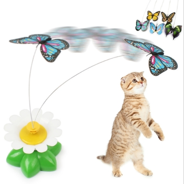 Electric Puppy Kitten Toys Funny Bird Colorful Flying Butterfly Around Flowers Toys Intelligence Training Scratch Pet Toy for Dog Cat