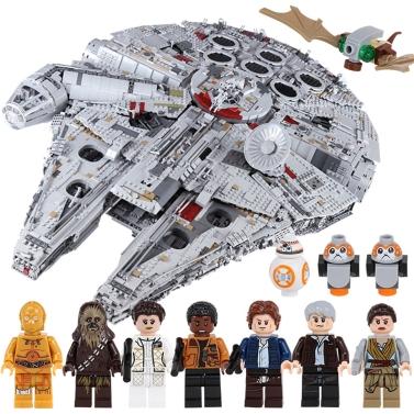 Caja original LEPIN 05132 8445pcs Star Wars Nave espacial Ultimate Millennium Falcon Force Despierta Bloques de construcción Kit Set