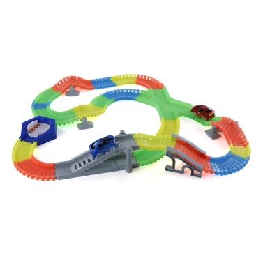 225PCS Twister Tracks Asamblea flexible Neon Glow en la oscuridad con la rotación automática Rotación Track Race Car para niños