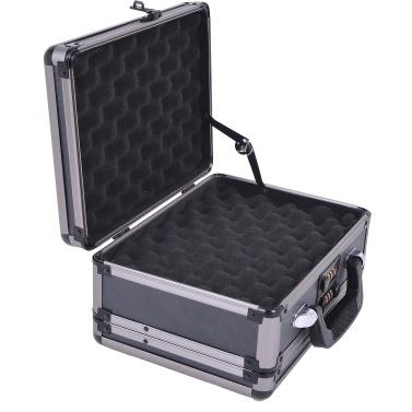 Double Sided Hard Box Hand Gun Case w/ Combination Lock - Grey
